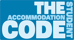 The Student Accommodation Code logo in blue